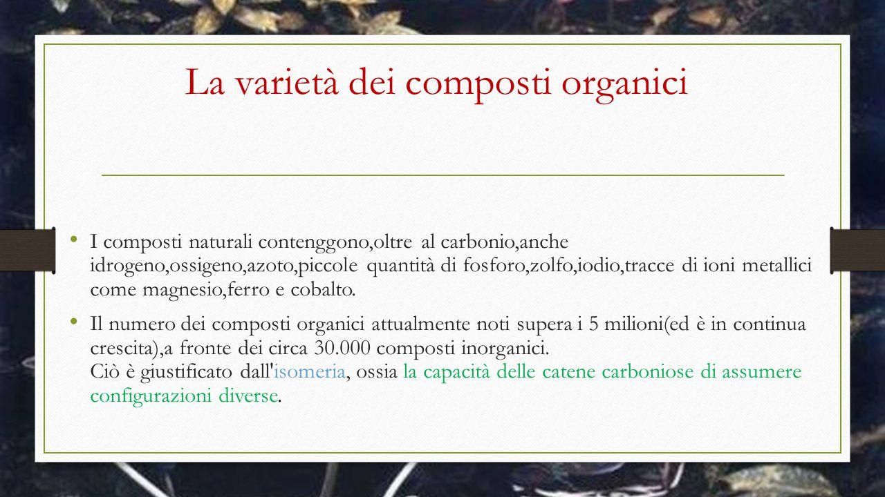 La varietà dei composti organici I composti naturali contenggono,oltre al carbonio,anche idrogeno,ossigeno,azoto,piccole quantità di fosforo,zolfo,iod