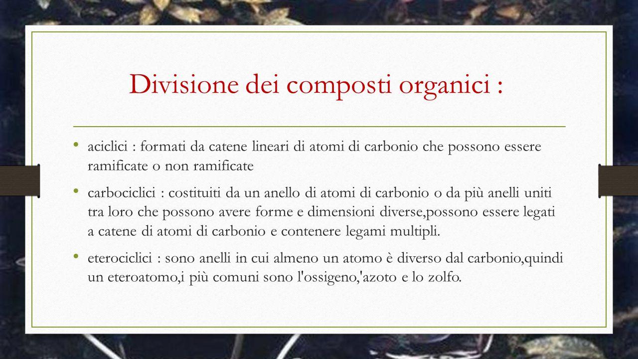 Divisione dei composti organici : aciclici : formati da catene lineari di atomi di carbonio che possono essere ramificate o non ramificate carbociclic