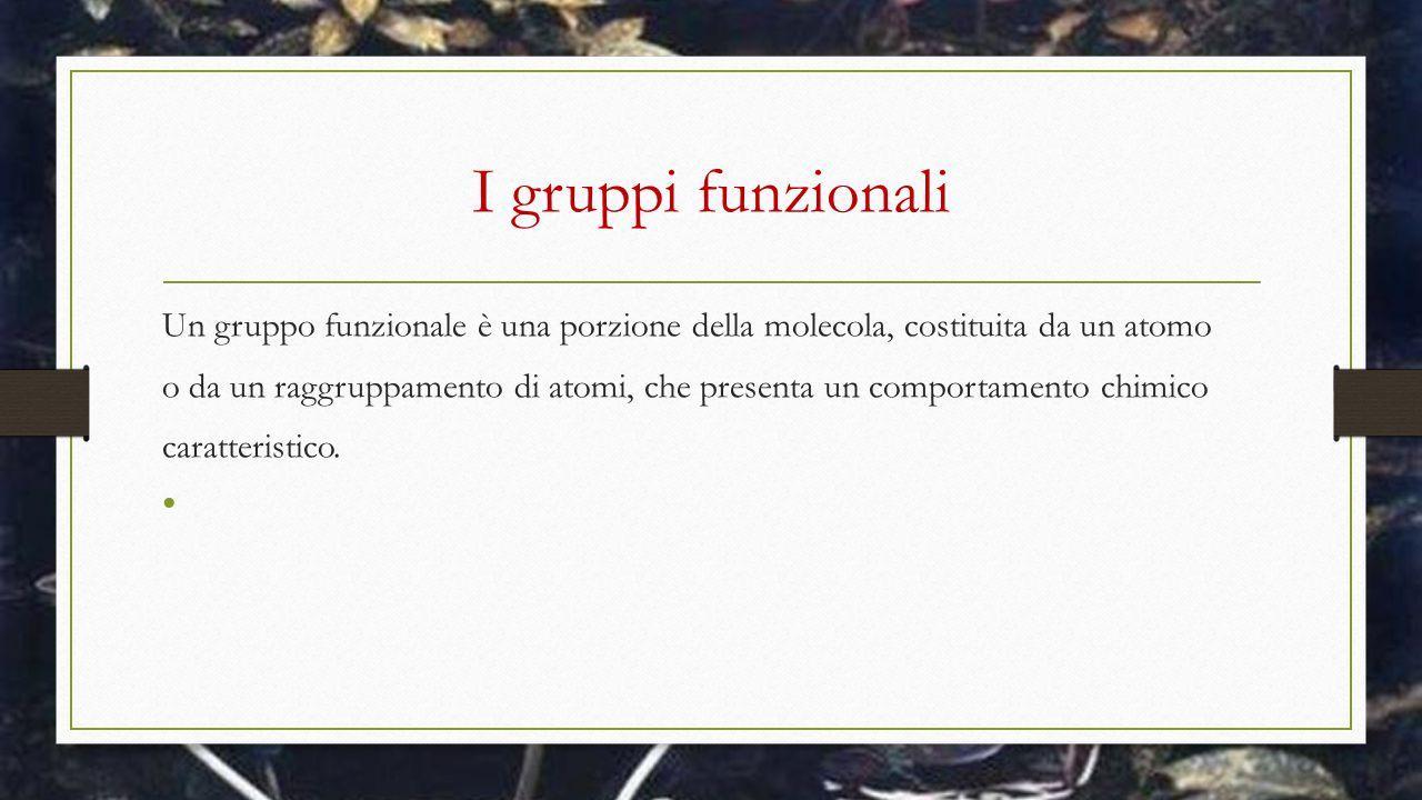 I gruppi funzionali Un gruppo funzionale è una porzione della molecola, costituita da un atomo o da un raggruppamento di atomi, che presenta un compor