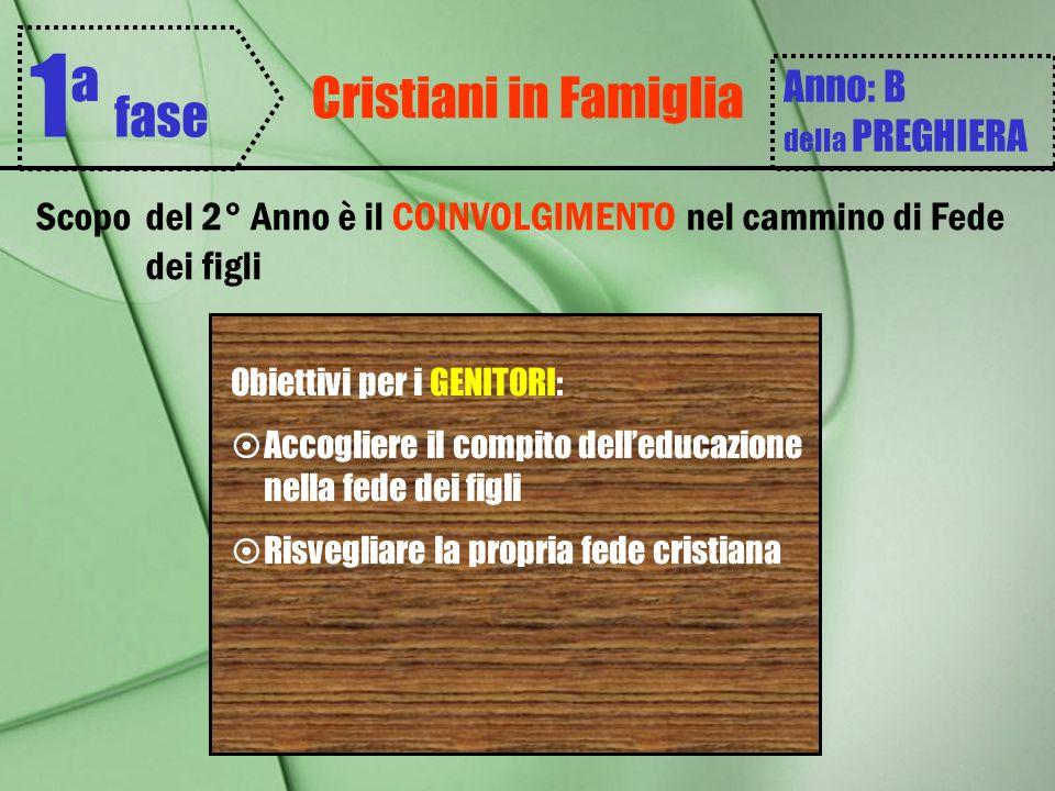 Cristiani in Famiglia 1 ª fase Anno: B della PREGHIERA Scopodel 2° Anno è il COINVOLGIMENTO nel cammino di Fede dei figli Obiettivi per i GENITORI: 