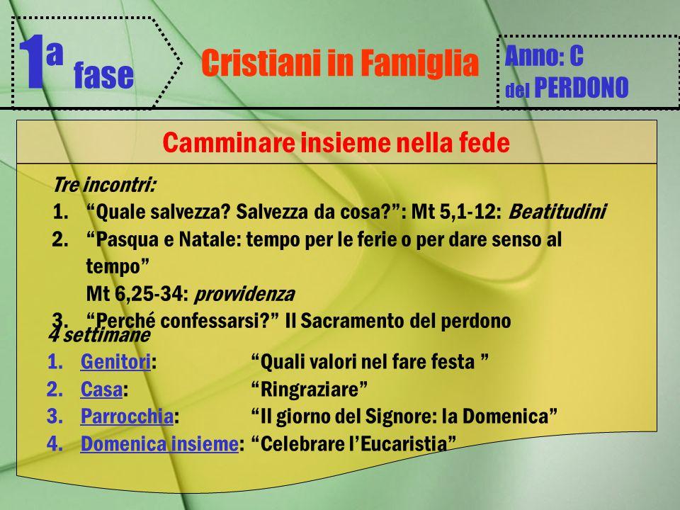 """Cristiani in Famiglia 1 ª fase Anno: C del PERDONO Camminare insieme nella fede Tre incontri: 1.""""Quale salvezza? Salvezza da cosa?"""": Mt 5,1-12: Beatit"""