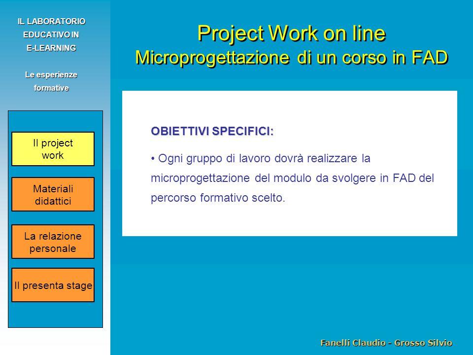 Fanelli Claudio - Grosso Silvio IL LABORATORIO EDUCATIVO IN E-LEARNING Le esperienze formative OBIETTIVI SPECIFICI: Ogni gruppo di lavoro dovrà realiz