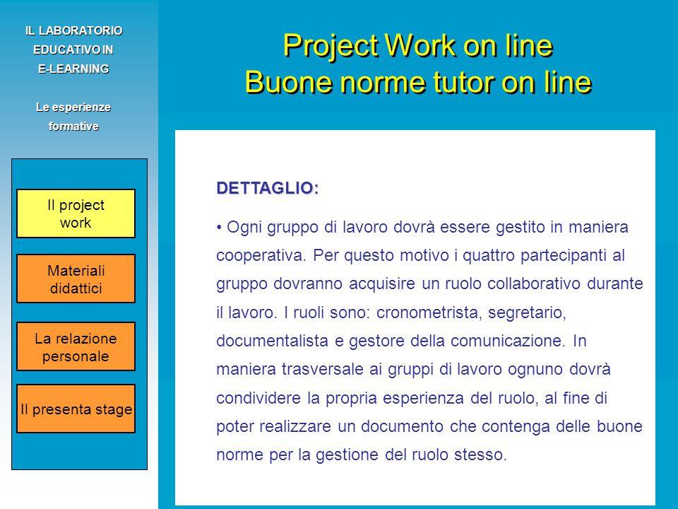 Fanelli Claudio - Grosso Silvio IL LABORATORIO EDUCATIVO IN E-LEARNING Le esperienze formative DETTAGLIO: Ogni gruppo di lavoro dovrà essere gestito in maniera cooperativa.