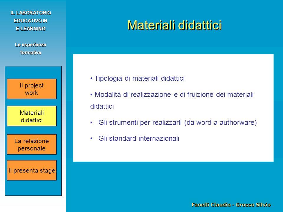 Fanelli Claudio - Grosso Silvio IL LABORATORIO EDUCATIVO IN E-LEARNING Le esperienze formative Tipologia di materiali didattici Modalità di realizzazi