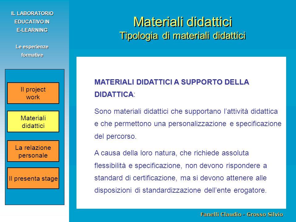 Fanelli Claudio - Grosso Silvio IL LABORATORIO EDUCATIVO IN E-LEARNING Le esperienze formative MATERIALI DIDATTICI A SUPPORTO DELLA DIDATTICA MATERIALI DIDATTICI A SUPPORTO DELLA DIDATTICA: Sono materiali didattici che supportano l'attività didattica e che permettono una personalizzazione e specificazione del percorso.