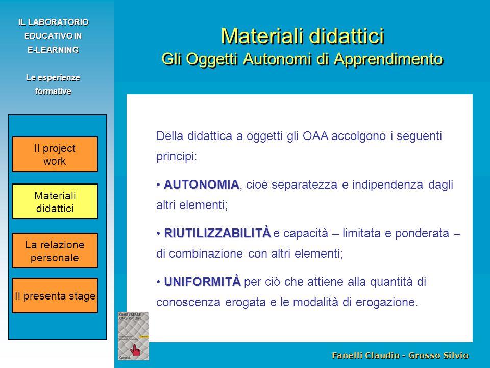 Fanelli Claudio - Grosso Silvio IL LABORATORIO EDUCATIVO IN E-LEARNING Le esperienze formative Della didattica a oggetti gli OAA accolgono i seguenti