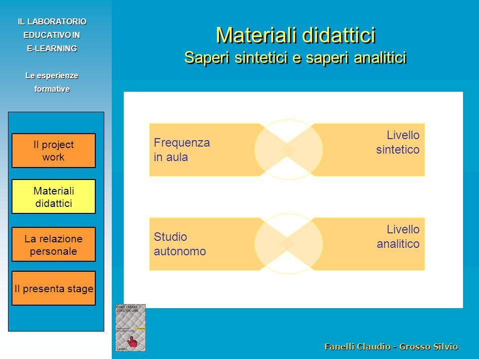 Fanelli Claudio - Grosso Silvio IL LABORATORIO EDUCATIVO IN E-LEARNING Le esperienze formative Materiali didattici Saperi sintetici e saperi analitici