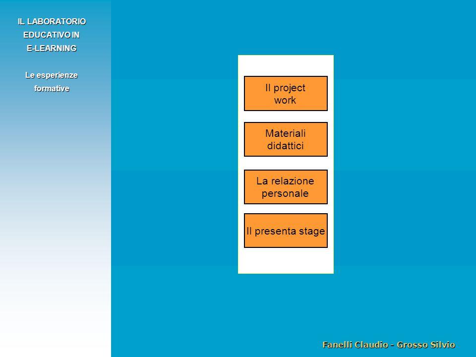Fanelli Claudio - Grosso Silvio IL LABORATORIO EDUCATIVO IN E-LEARNING Le esperienze formative Il project work La relazione personale Il presenta stage Materiali didattici