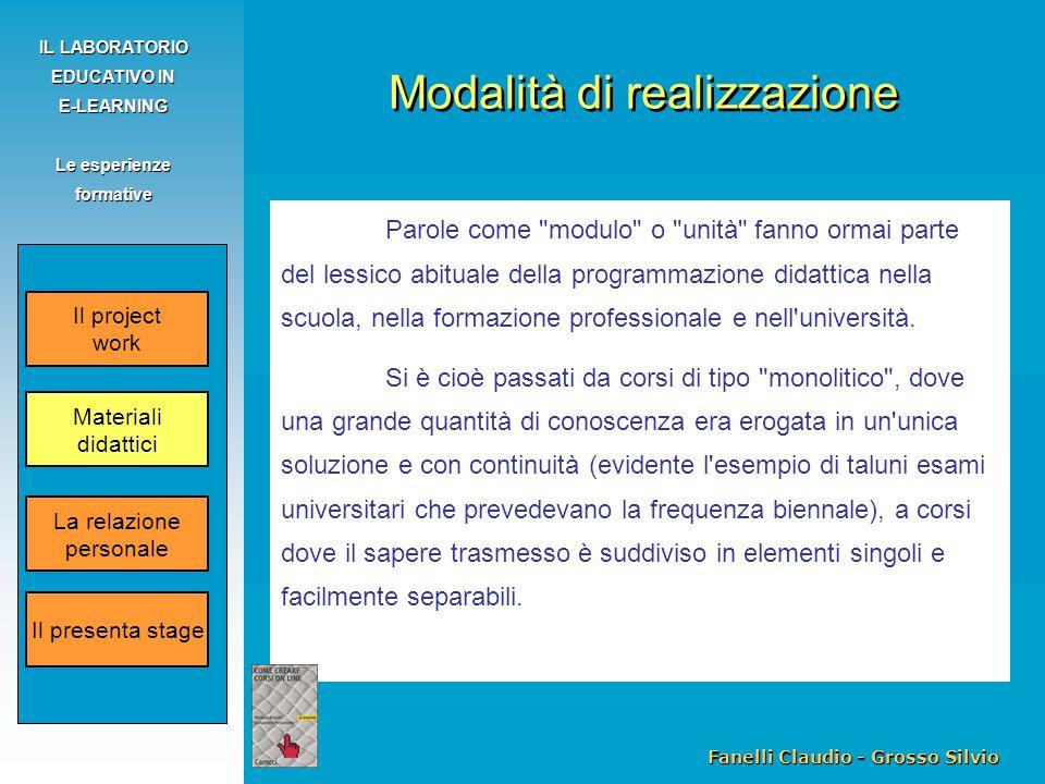 Fanelli Claudio - Grosso Silvio IL LABORATORIO EDUCATIVO IN E-LEARNING Le esperienze formative Parole come