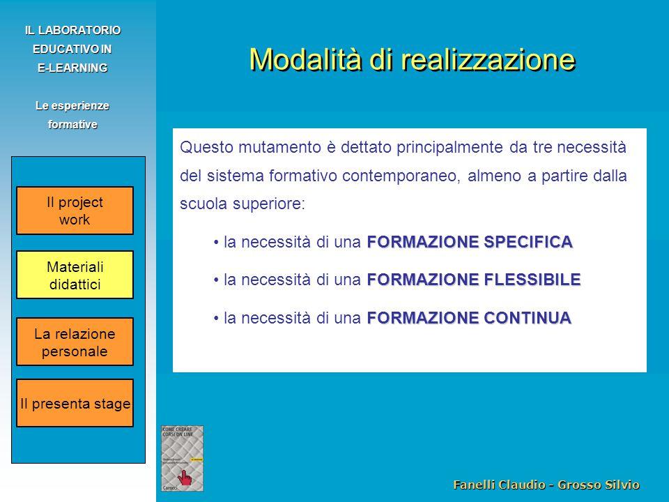 Fanelli Claudio - Grosso Silvio IL LABORATORIO EDUCATIVO IN E-LEARNING Le esperienze formative Questo mutamento è dettato principalmente da tre necess
