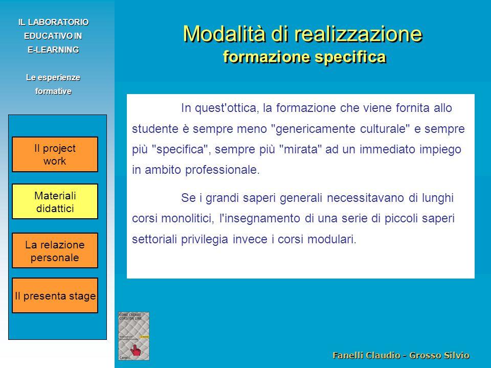Fanelli Claudio - Grosso Silvio IL LABORATORIO EDUCATIVO IN E-LEARNING Le esperienze formative In quest'ottica, la formazione che viene fornita allo s