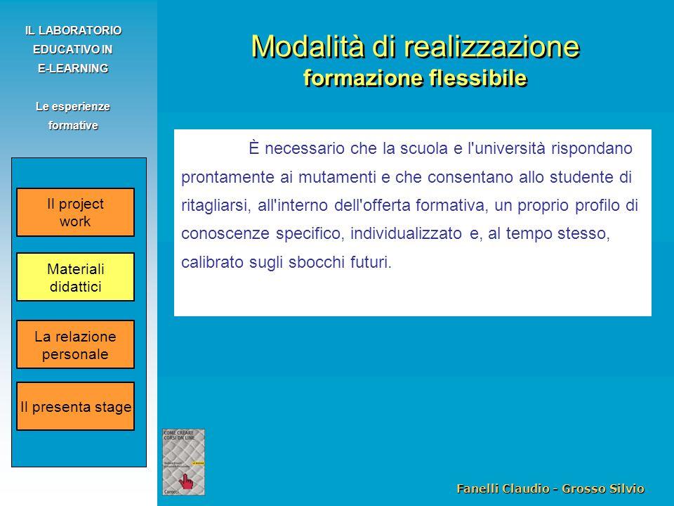 Fanelli Claudio - Grosso Silvio IL LABORATORIO EDUCATIVO IN E-LEARNING Le esperienze formative È necessario che la scuola e l'università rispondano pr