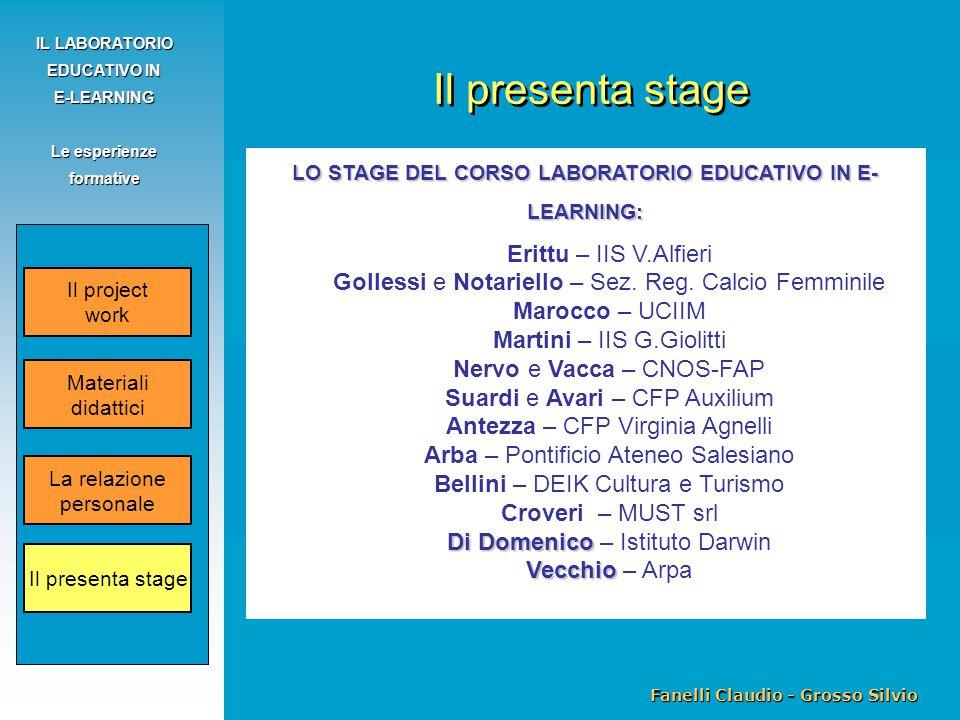 Fanelli Claudio - Grosso Silvio IL LABORATORIO EDUCATIVO IN E-LEARNING Le esperienze formative Il project work La relazione personale Il presenta stage Materiali didattici LO STAGE DEL CORSO LABORATORIO EDUCATIVO IN E- LEARNING: Erittu – IIS V.Alfieri Gollessi e Notariello – Sez.