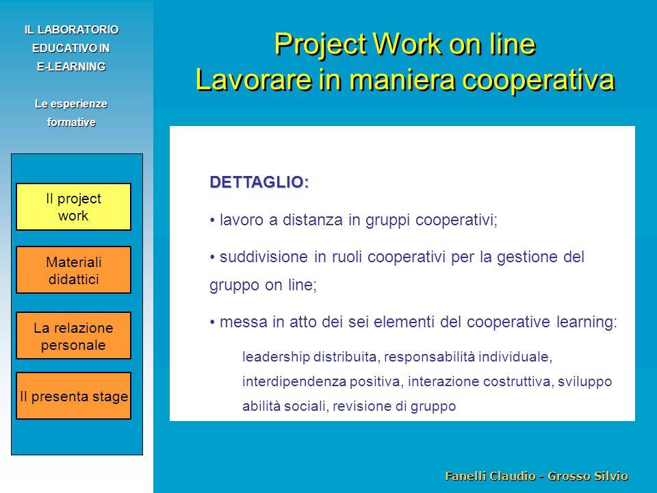 Fanelli Claudio - Grosso Silvio IL LABORATORIO EDUCATIVO IN E-LEARNING Le esperienze formative DETTAGLIO: lavoro a distanza in gruppi cooperativi; sud
