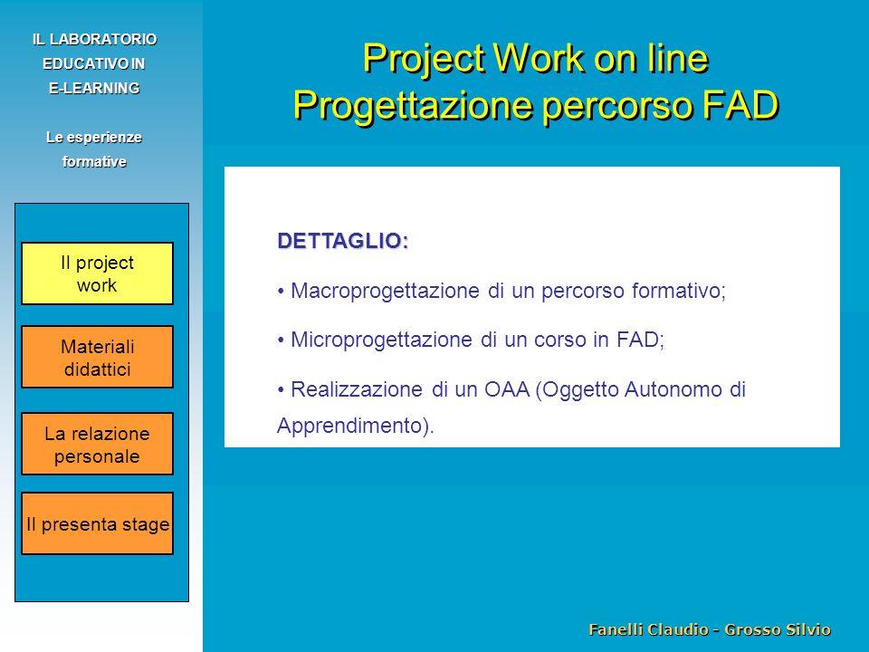 Fanelli Claudio - Grosso Silvio IL LABORATORIO EDUCATIVO IN E-LEARNING Le esperienze formative DETTAGLIO: Macroprogettazione di un percorso formativo;