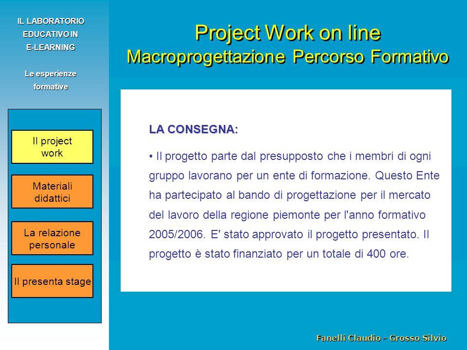 Fanelli Claudio - Grosso Silvio IL LABORATORIO EDUCATIVO IN E-LEARNING Le esperienze formative LA CONSEGNA: Il progetto parte dal presupposto che i membri di ogni gruppo lavorano per un ente di formazione.