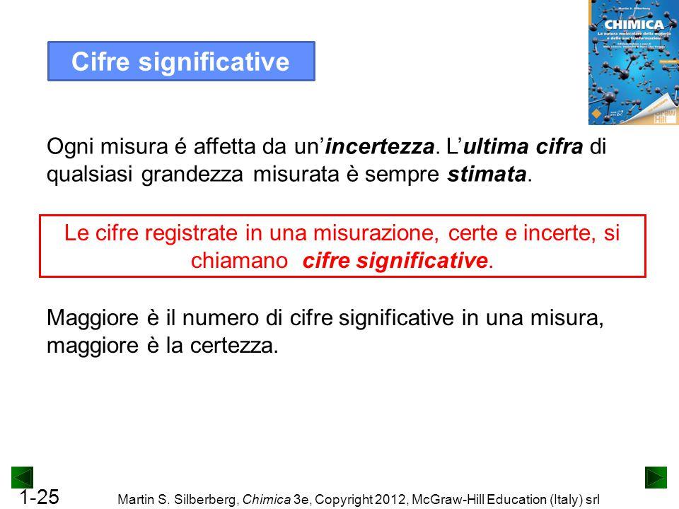 1-25 Martin S. Silberberg, Chimica 3e, Copyright 2012, McGraw-Hill Education (Italy) srl Cifre significative Ogni misura é affetta da un'incertezza. L