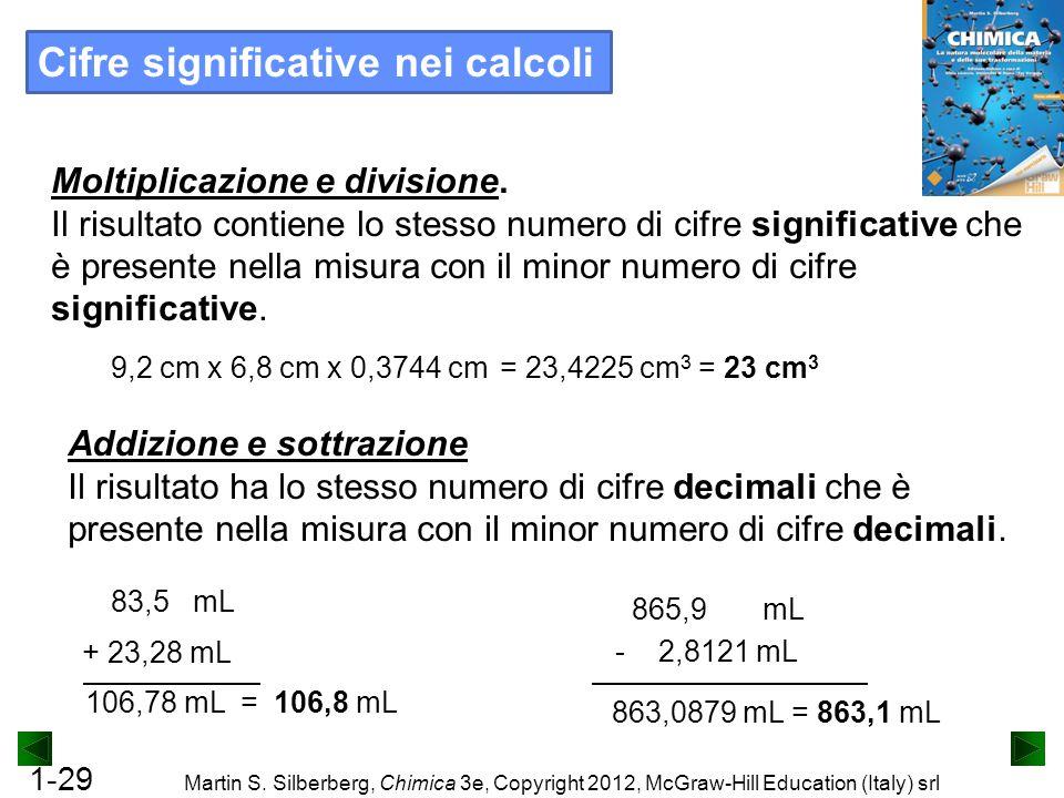 1-29 Martin S. Silberberg, Chimica 3e, Copyright 2012, McGraw-Hill Education (Italy) srl = 23,4225 cm 3 = 23 cm 3 9,2 cm x 6,8 cm x 0,3744 cm Moltipli