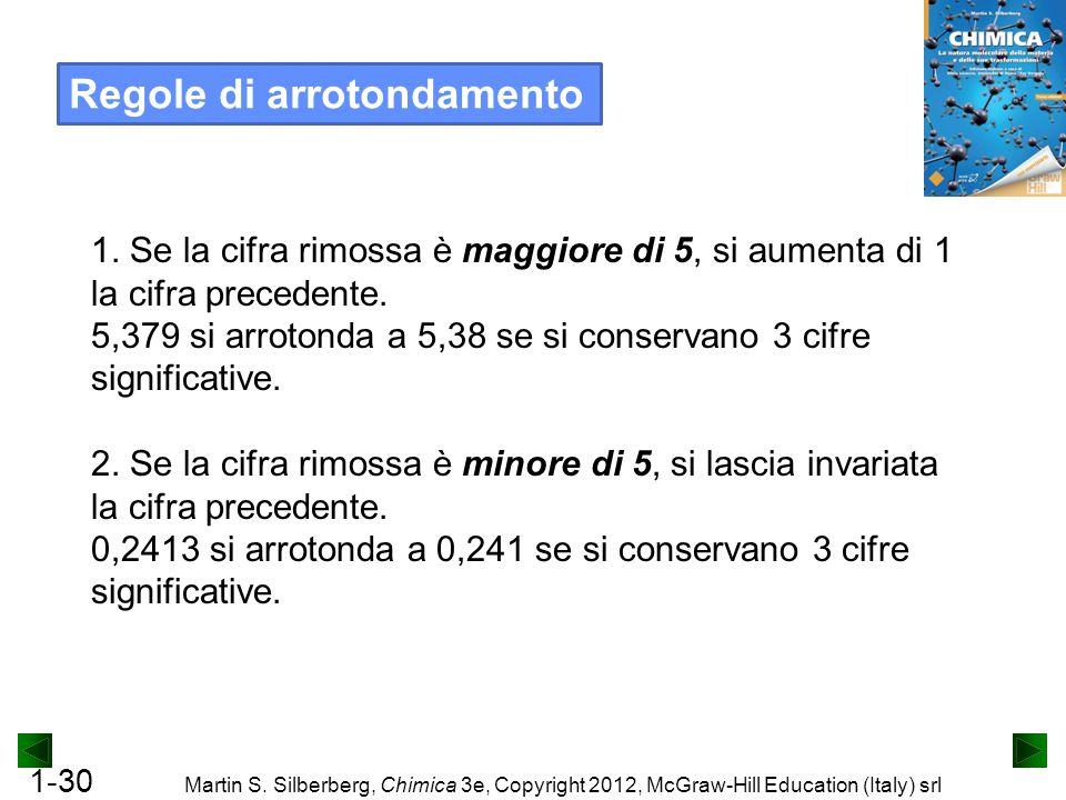 1-30 Martin S. Silberberg, Chimica 3e, Copyright 2012, McGraw-Hill Education (Italy) srl Regole di arrotondamento 1. Se la cifra rimossa è maggiore di