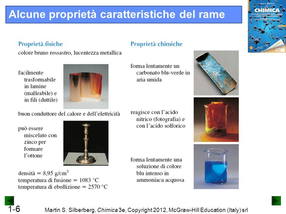1-6 Martin S. Silberberg, Chimica 3e, Copyright 2012, McGraw-Hill Education (Italy) srl Alcune proprietà caratteristiche del rame