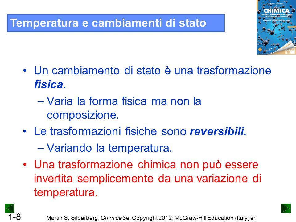 1-8 Martin S. Silberberg, Chimica 3e, Copyright 2012, McGraw-Hill Education (Italy) srl Un cambiamento di stato è una trasformazione fisica. –Varia la