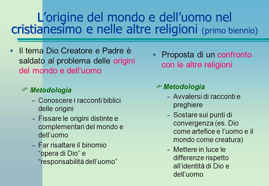 L'origine del mondo e dell'uomo nel cristianesimo e nelle altre religioni (primo biennio)  Il tema Dio Creatore e Padre è saldato al problema delle o