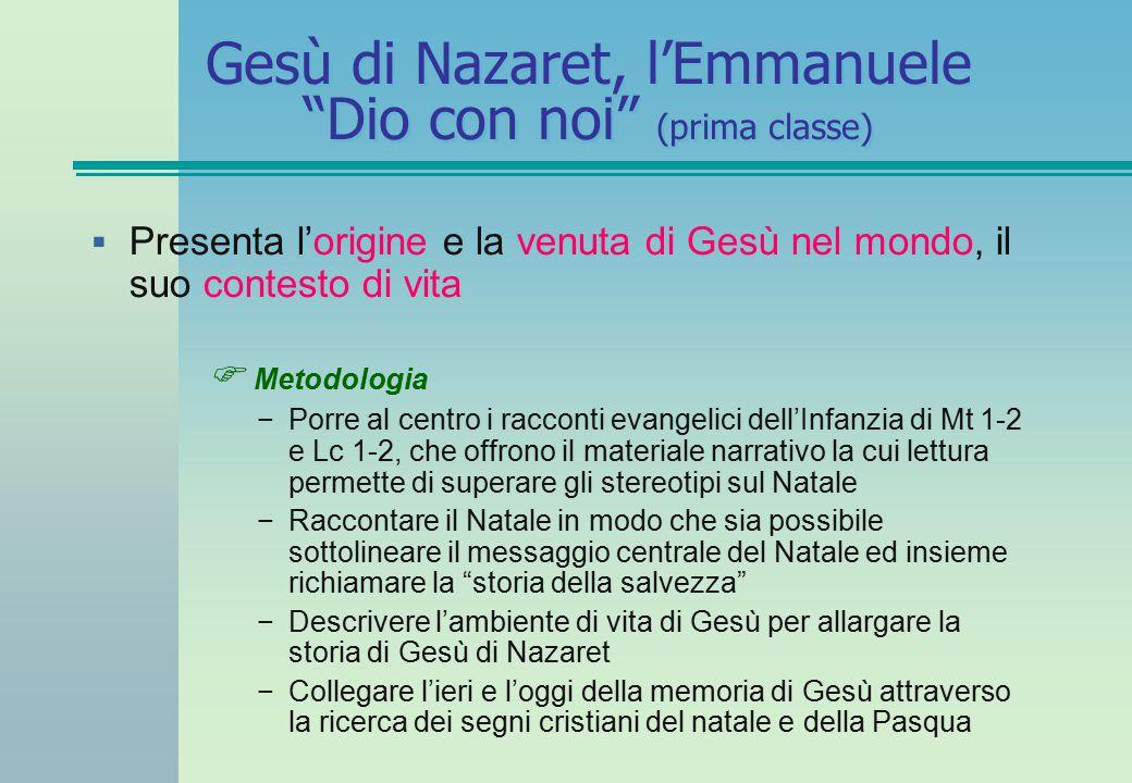"""Gesù di Nazaret, l'Emmanuele """"Dio con noi"""" (prima classe)  Presenta l'origine e la venuta di Gesù nel mondo, il suo contesto di vita  Metodologia −P"""