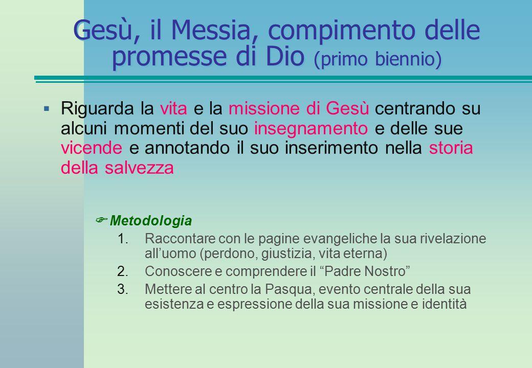 Gesù, il Messia, compimento delle promesse di Dio (primo biennio)  Riguarda la vita e la missione di Gesù centrando su alcuni momenti del suo insegna
