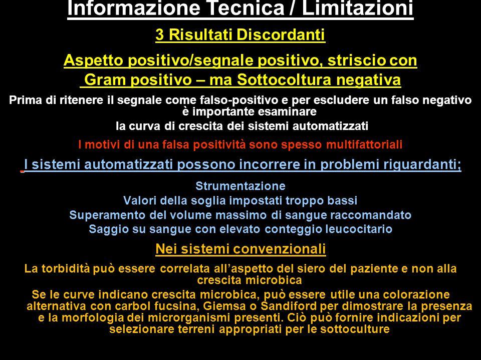 3 Risultati Discordanti Aspetto positivo/segnale positivo, striscio con Gram positivo – ma Sottocoltura negativa Prima di ritenere il segnale come fal
