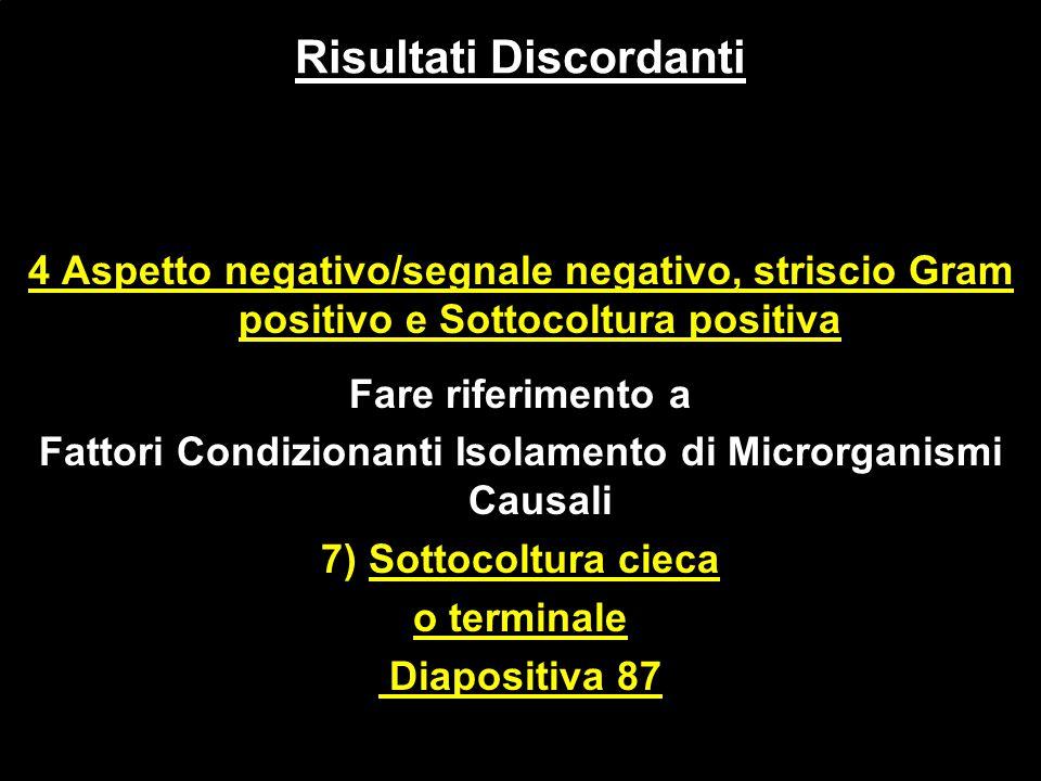 4 Aspetto negativo/segnale negativo, striscio Gram positivo e Sottocoltura positiva Fare riferimento a Fattori Condizionanti Isolamento di Microrganis