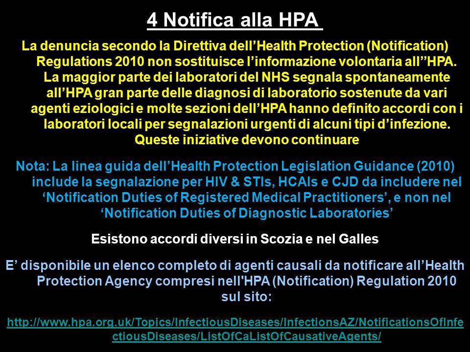 4 Notifica alla HPA La denuncia secondo la Direttiva dell'Health Protection (Notification) Regulations 2010 non sostituisce l'informazione volontaria