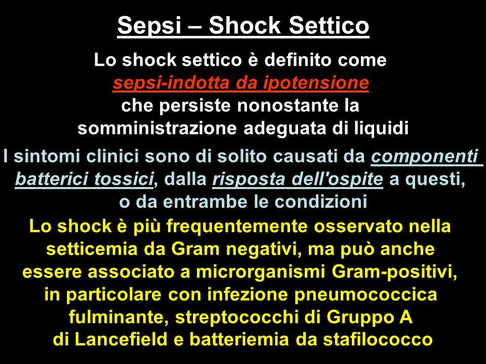 Sepsi – Shock Settico Lo shock settico è definito come sepsi-indotta da ipotensione che persiste nonostante la somministrazione adeguata di liquidi co