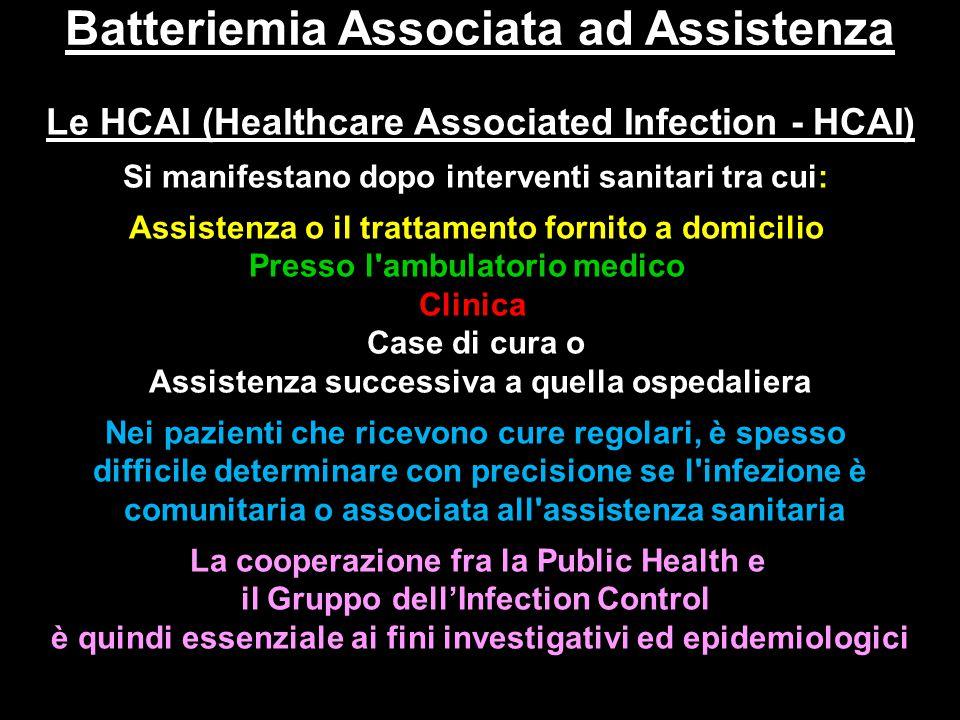 Batteriemia Associata ad Assistenza Le HCAI (Healthcare Associated Infection - HCAI) Si manifestano dopo interventi sanitari tra cui: Assistenza o il