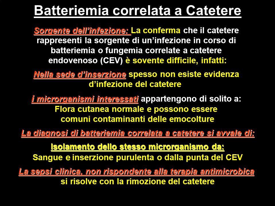 Batteriemia correlata a Catetere Sorgente dell'infezione: Sorgente dell'infezione: La conferma che il catetere rappresenti la sorgente di un'infezione