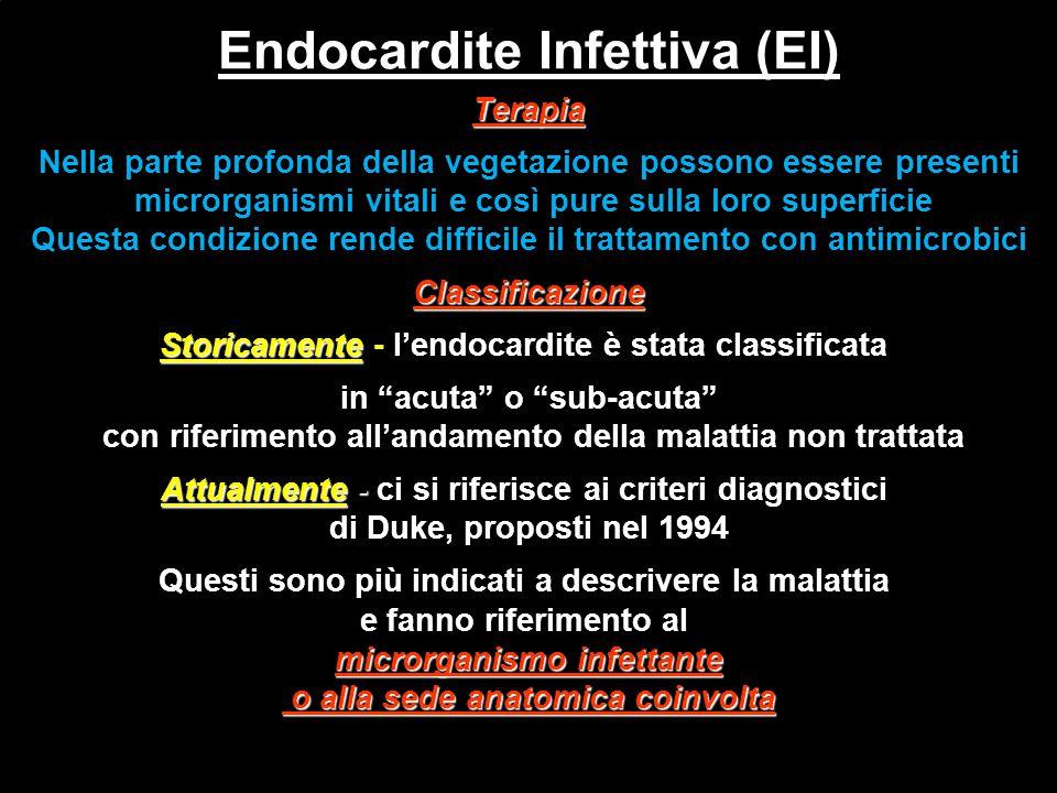 Endocardite Infettiva (EI) Terapia Nella parte profonda della vegetazione possono essere presenti microrganismi vitali e così pure sulla loro superfic