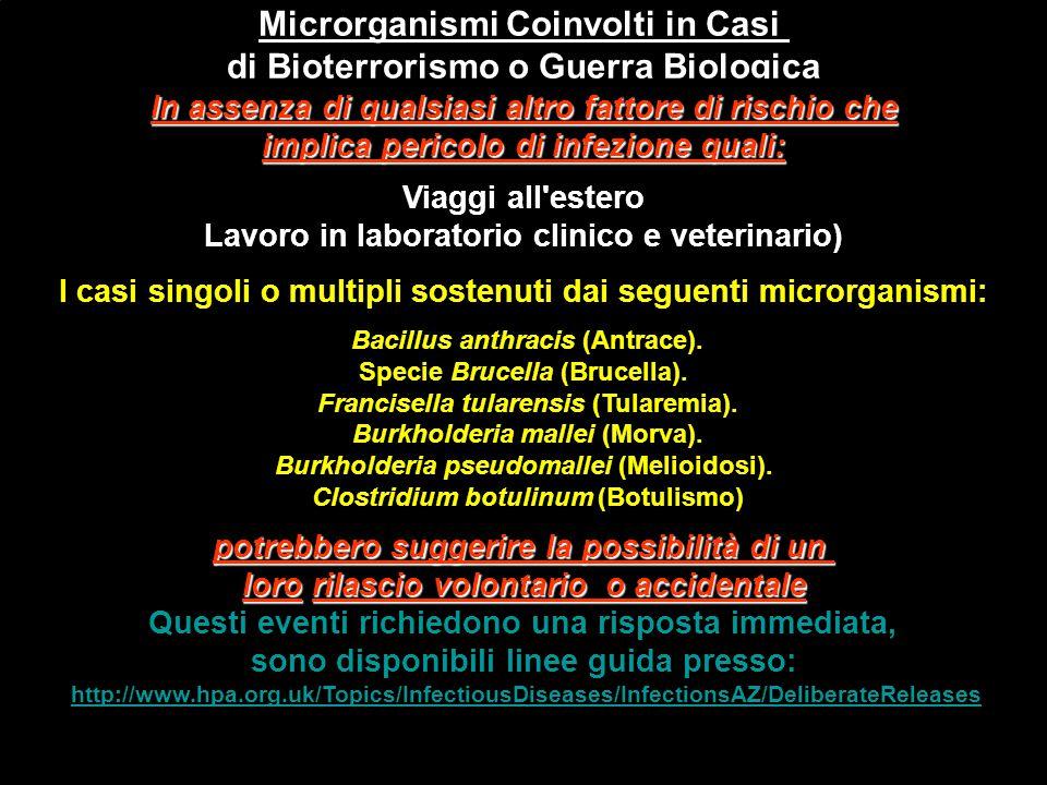 Microrganismi Coinvolti in Casi di Bioterrorismo o Guerra Biologica In assenza di qualsiasi altro fattore di rischio che implica pericolo di infezione
