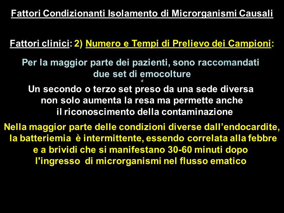 Fattori Condizionanti Isolamento di Microrganismi Causali Fattori clinici: 2) Numero e Tempi di Prelievo dei Campioni: Per la maggior parte dei pazien