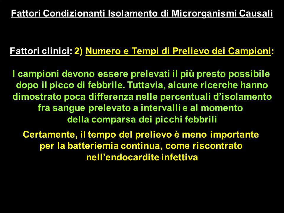 Fattori Condizionanti Isolamento di Microrganismi Causali Fattori clinici: 2) Numero e Tempi di Prelievo dei Campioni: I campioni devono essere prelev