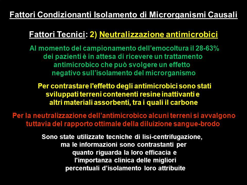 Fattori Condizionanti Isolamento di Microrganismi Causali Fattori Tecnici: 2) Neutralizzazione antimicrobici Al momento del campionamento dell'emocolt