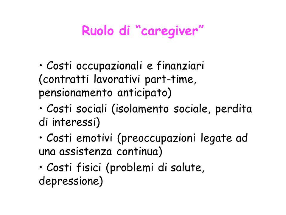 """Ruolo di """"caregiver"""" Costi occupazionali e finanziari (contratti lavorativi part-time, pensionamento anticipato) Costi sociali (isolamento sociale, pe"""