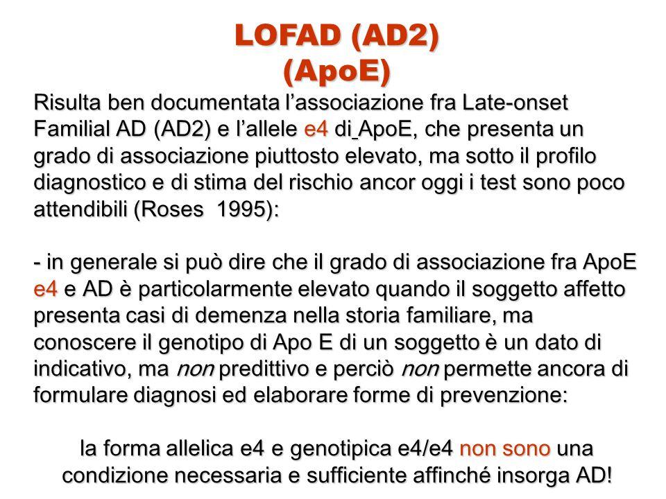LOFAD (AD2) (ApoE) Risulta ben documentata l'associazione fra Late-onset Familial AD (AD2) e l'allele e4 di ApoE, che presenta un grado di associazion