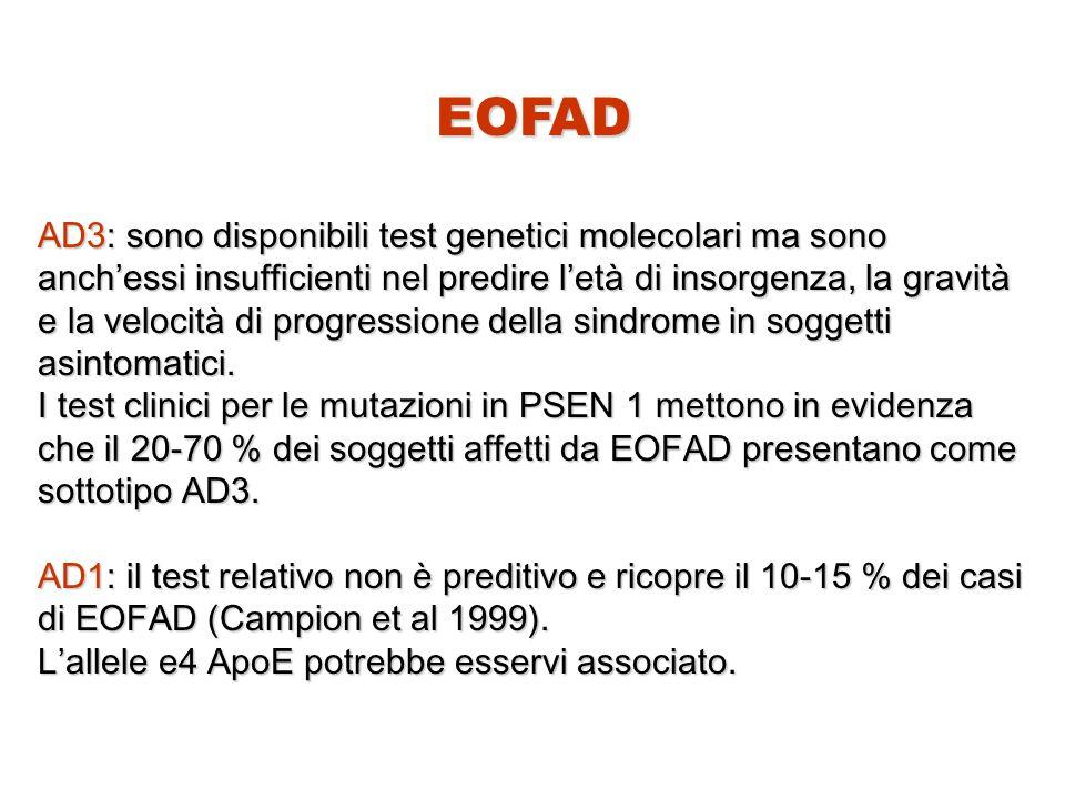 EOFAD AD3: sono disponibili test genetici molecolari ma sono anch'essi insufficienti nel predire l'età di insorgenza, la gravità e la velocità di prog