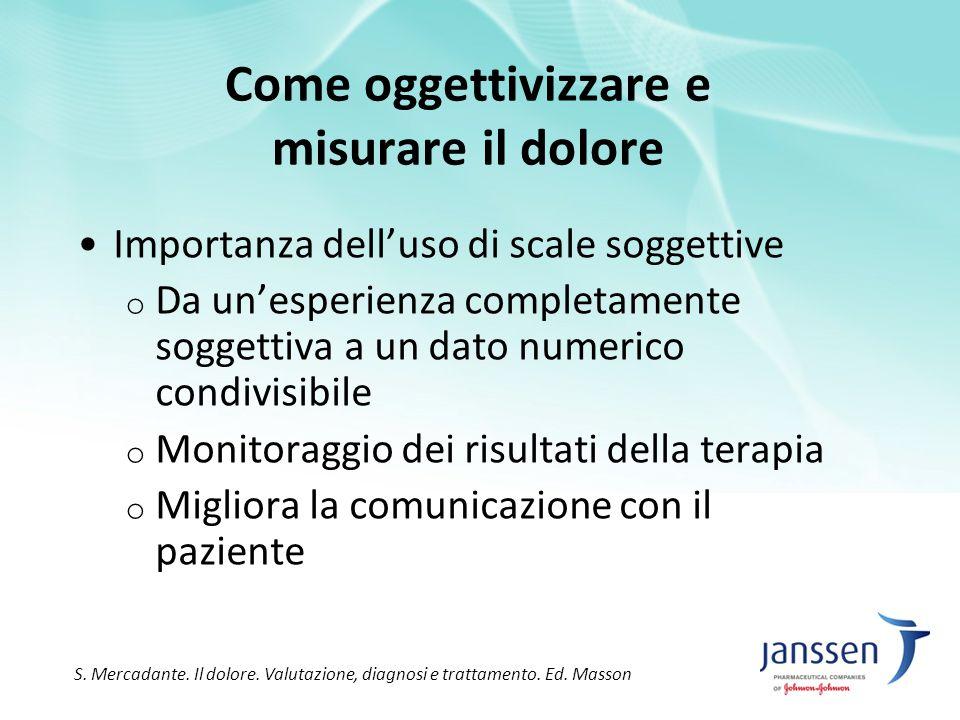 Come oggettivizzare e misurare il dolore Importanza dell'uso di scale soggettive o Da un'esperienza completamente soggettiva a un dato numerico condiv