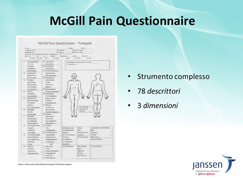McGill Pain Questionnaire Strumento complesso 78 descrittori 3 dimensioni