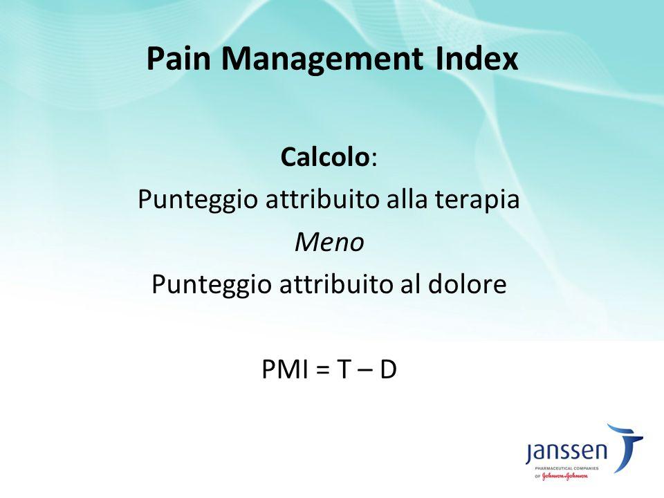Calcolo: Punteggio attribuito alla terapia Meno Punteggio attribuito al dolore PMI = T – D Pain Management Index