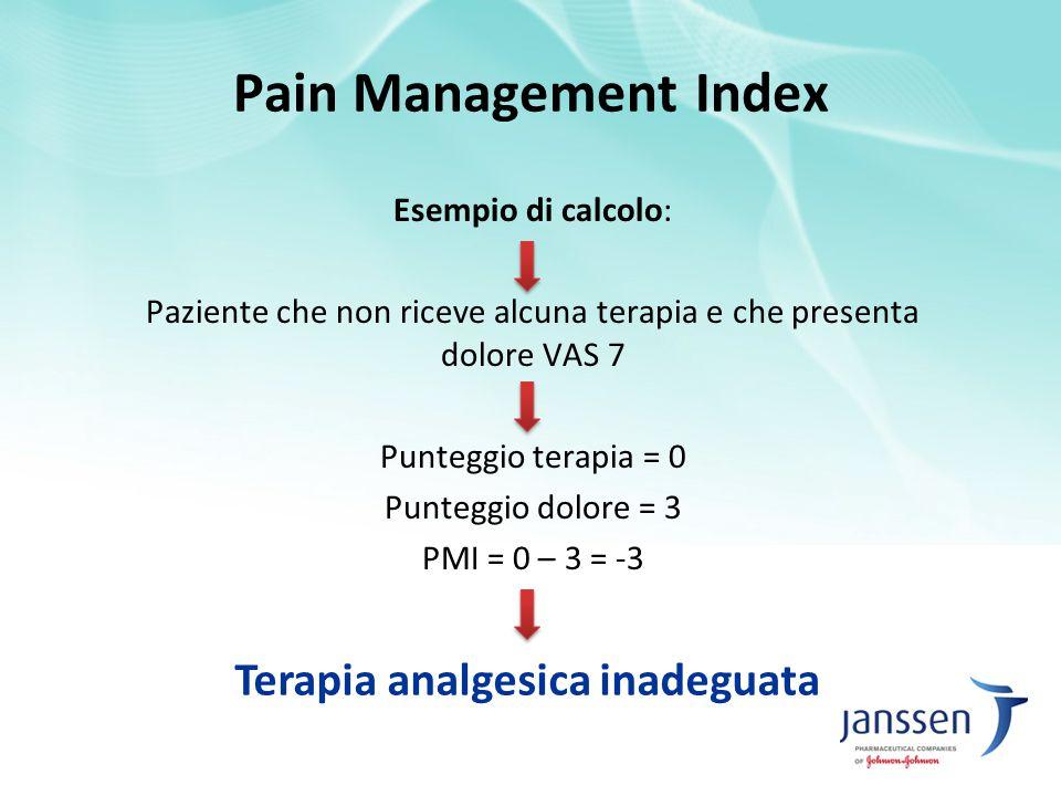 Esempio di calcolo: Paziente che non riceve alcuna terapia e che presenta dolore VAS 7 Punteggio terapia = 0 Punteggio dolore = 3 PMI = 0 – 3 = -3 Ter