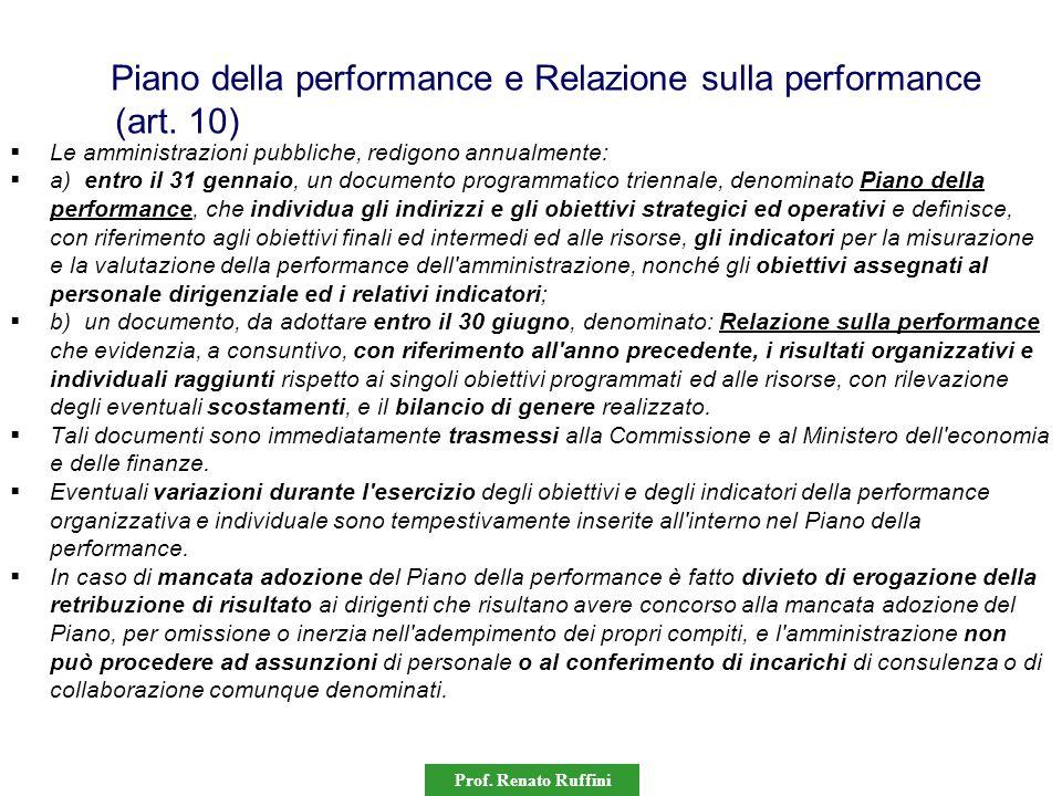 Prof. Renato Ruffini Piano della performance e Relazione sulla performance (art. 10)  Le amministrazioni pubbliche, redigono annualmente:  a) entro