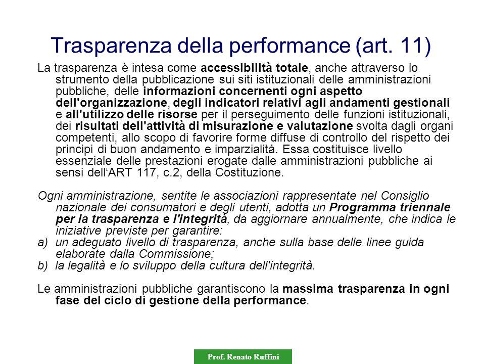 Prof. Renato Ruffini Trasparenza della performance (art. 11) La trasparenza è intesa come accessibilità totale, anche attraverso lo strumento della pu