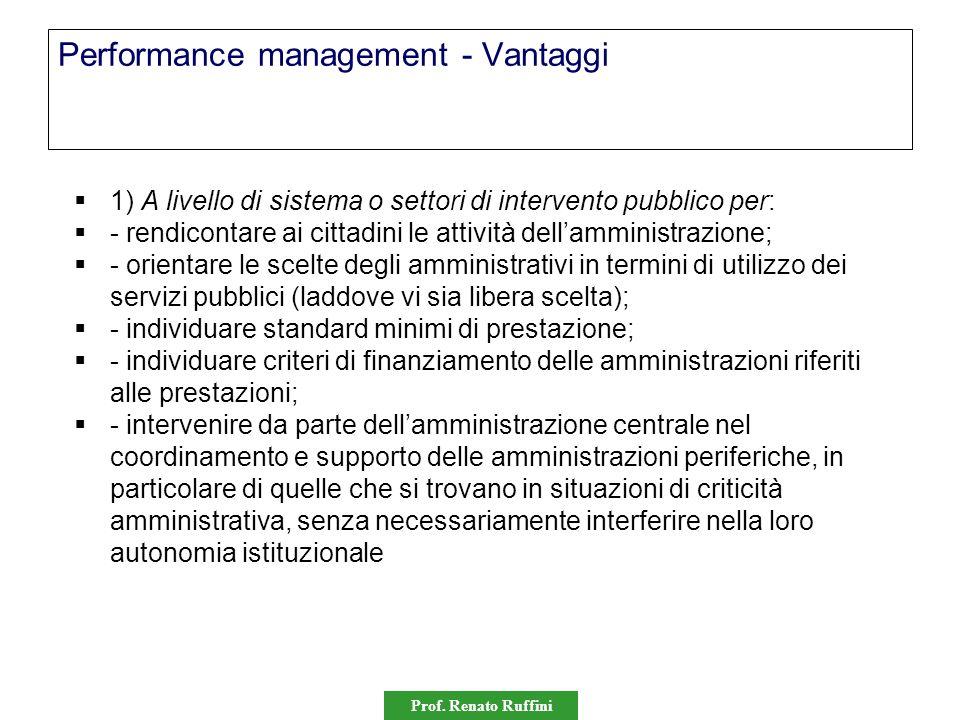 Prof. Renato Ruffini Performance management - Vantaggi  1) A livello di sistema o settori di intervento pubblico per:  - rendicontare ai cittadini l