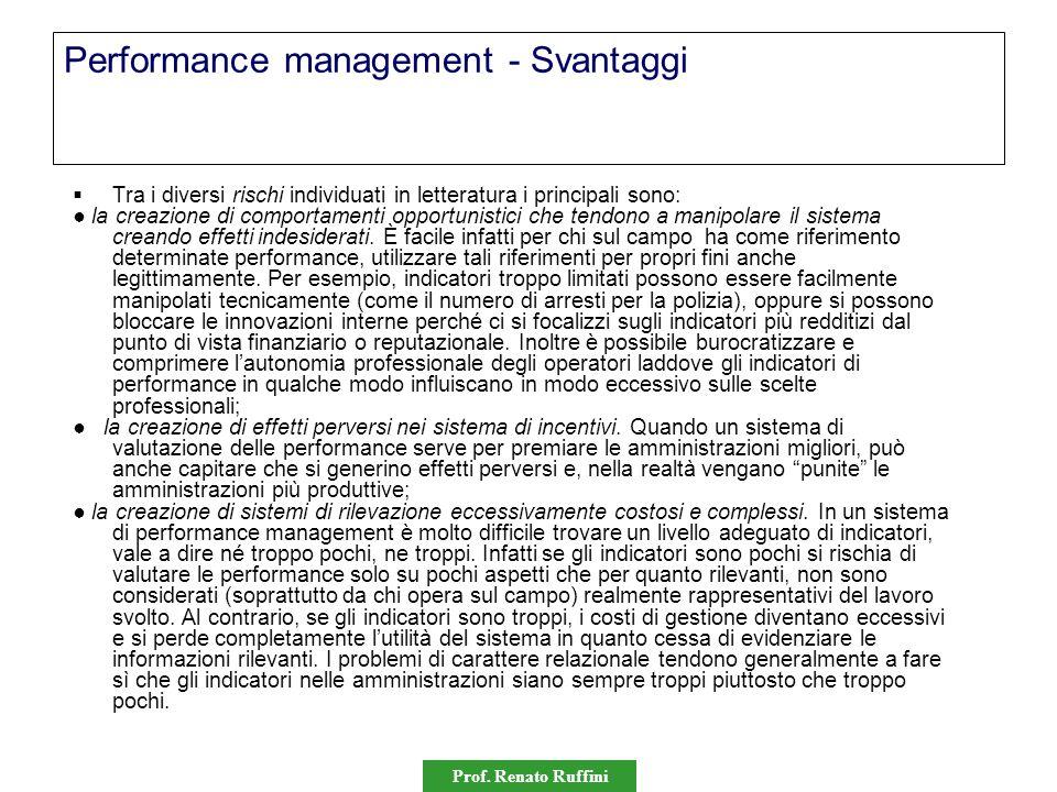 Prof. Renato Ruffini Performance management - Svantaggi  Tra i diversi rischi individuati in letteratura i principali sono: ● la creazione di comport